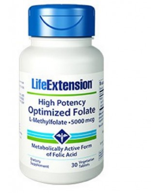High Potency Optimized Folate (L-Methylfolate) 5000 Mcg - 30 Vegetarian Tablets - Life Extension