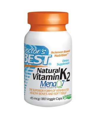 Doctor's Best, Natural Vitamin K2, Mena Q7, 45 mcg, 180 Veggie Caps