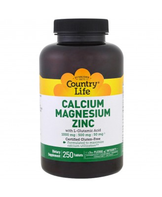 Calcium Magnesium Zinc - 250 Tablets - Country Life