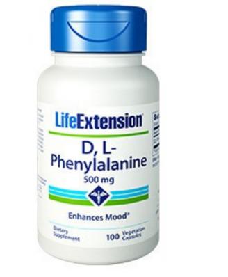 D,L-Phenylalanine Capsules 500 Mg - 100 Vegetarian Capsules - Life Extension