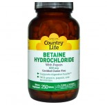 Country Life, Gluten Free, Betaine Hydrochloride, with Pepsin, 600 mg, 250 Tablets