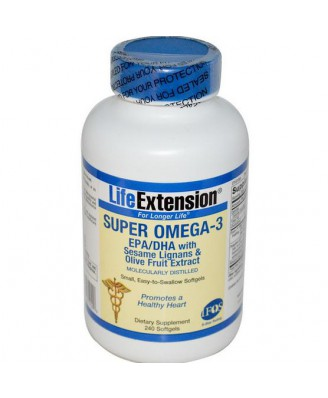 Super Omega-3- EPA/DHA with Sesame Lignans & Olive Fruit Extract (60 Softgels) - Life Extension