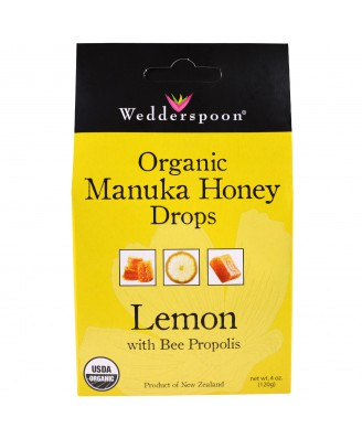 Organic Manuka Honey Drops Lemon With Bee Propolis (120 gram) - Wedderspoon Organic