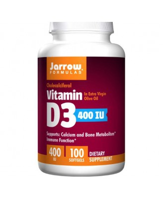 Vitamin D 3 - Jarrow Formulas, Vitamin D3, Cholecalciferol, 400 IU, 100 Softgels