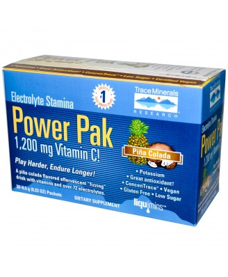 Electrolyte Stamina, Power Pak, Piña Colada (32 Packets, 6.5 g Each) - Trace Minerals Research