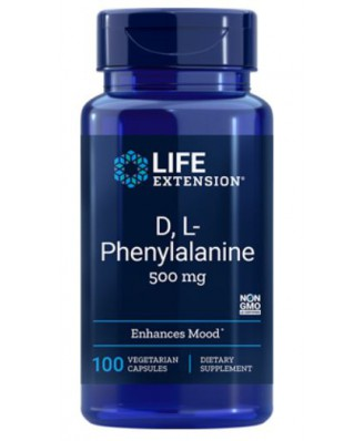 D,L-Fenylalanine Capsules 500 Mg - 100 Vegitarische Capsules - Life Extension