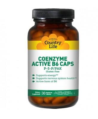 Country Life, Gluten Free, Coenzyme Active B6 Caps, P-5-P/PAK, 30 Veggie Caps