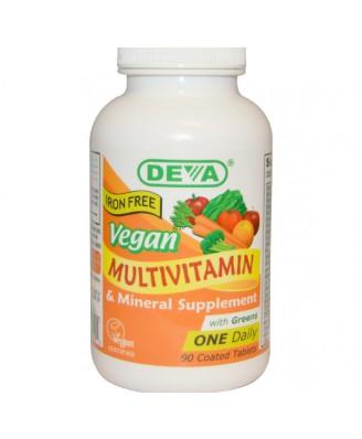 Deva, Multivitamin & Mineral Supplement, Iron Free, Vegan, 90 Coated Tablets
