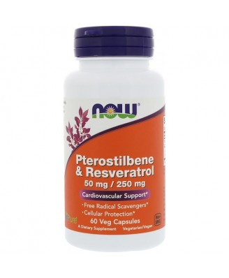 Pterostilbene & Resveratrol 50 mg / 250 mg (60 Vegetarian Capsules) - Now Foods