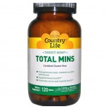 Country Life, Gluten Free, Total Mins Iron-Free, Multi-Mineral Complex with Boron, 120 Tablets