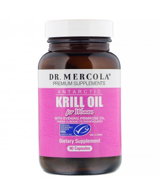 Dr. Mercola, Premium Supplements, Antarctic Krill Oil for Women, 90 Capsules