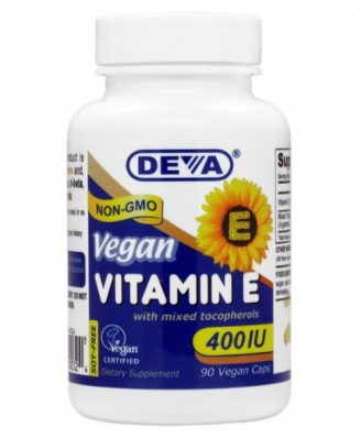 Vegan plant source vitamin E with Mixed Tocopherols 400 IU (90 capsules) - Deva