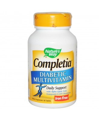 Nature's Way, Completia, Diabetic Multivitamin, Iron Free, 90 Tablets