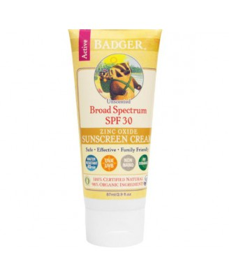 Natuurlijke Zonnebrandcrème, Factor 30, Geurloos (87 ml) - Badger